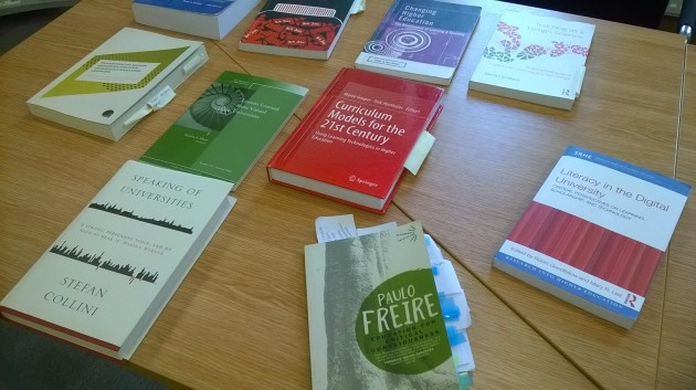Selection of texts being consulted in writing 'Conceptualising the Digital University'
